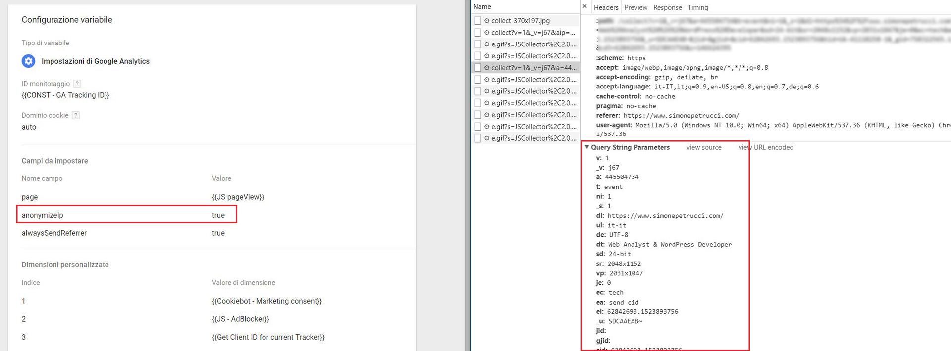 impostazione errata GTM anonymize ip